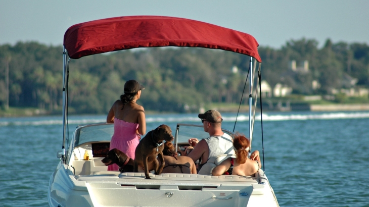 People on small boat with dogs on lake