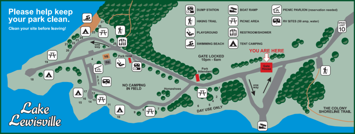 Map of Stewart Creek Park with amenities